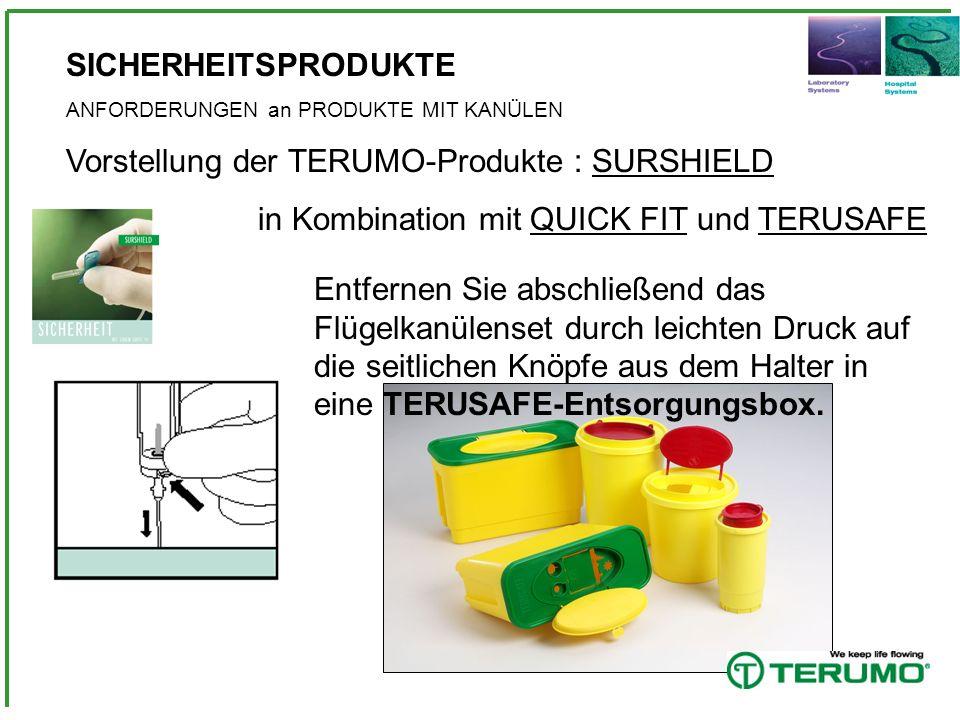 SICHERHEITSPRODUKTE ANFORDERUNGEN an PRODUKTE MIT KANÜLEN Vorstellung der TERUMO-Produkte : SURSHIELD in Kombination mit QUICK FIT und TERUSAFE Entfer