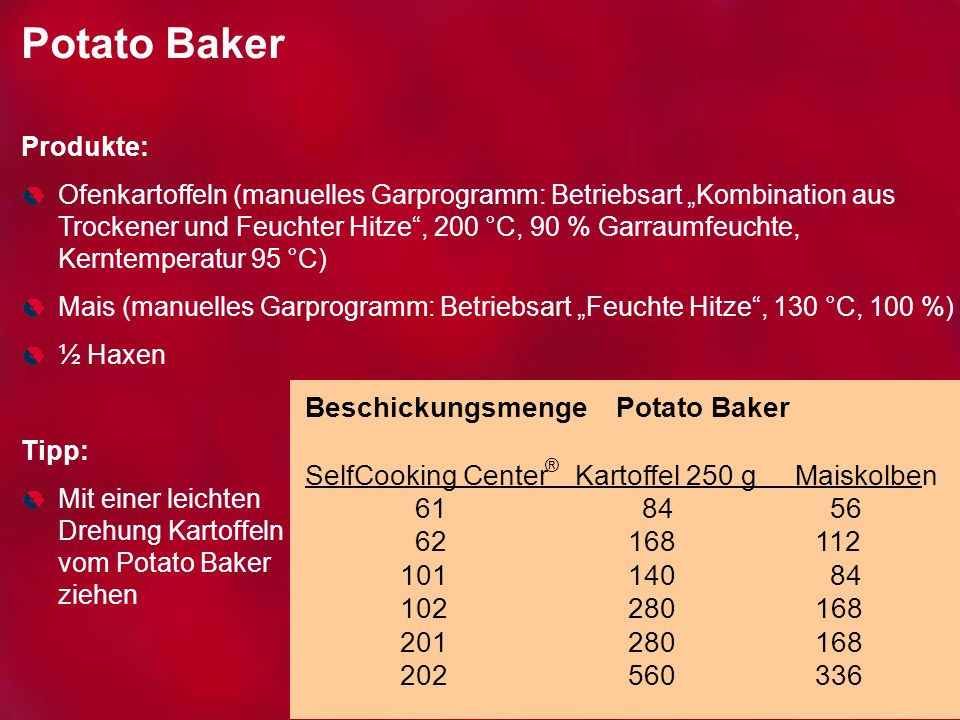 Potato Baker Produkte: Ofenkartoffeln (manuelles Garprogramm: Betriebsart Kombination aus Trockener und Feuchter Hitze, 200 °C, 90 % Garraumfeuchte, K