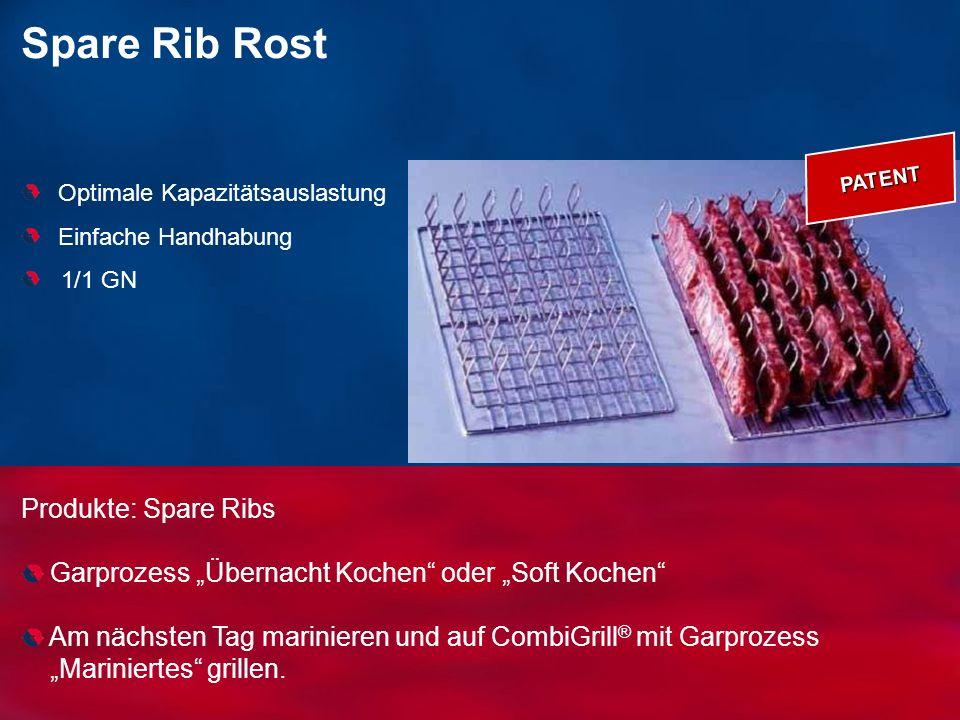 Produkte: Spare Ribs Garprozess Übernacht Kochen oder Soft Kochen Am nächsten Tag marinieren und auf CombiGrill ® mit Garprozess Mariniertes grillen.