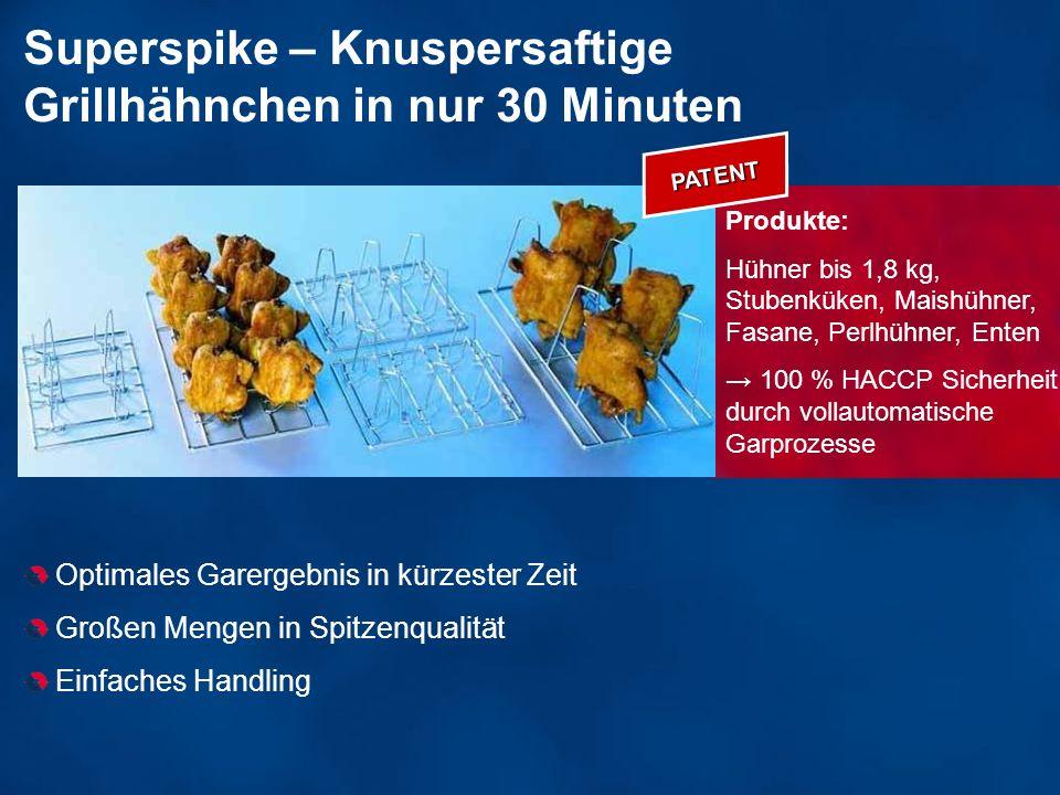 Superspike – Knuspersaftige Grillhähnchen in nur 30 Minuten Optimales Garergebnis in kürzester Zeit Großen Mengen in Spitzenqualität Einfaches Handlin