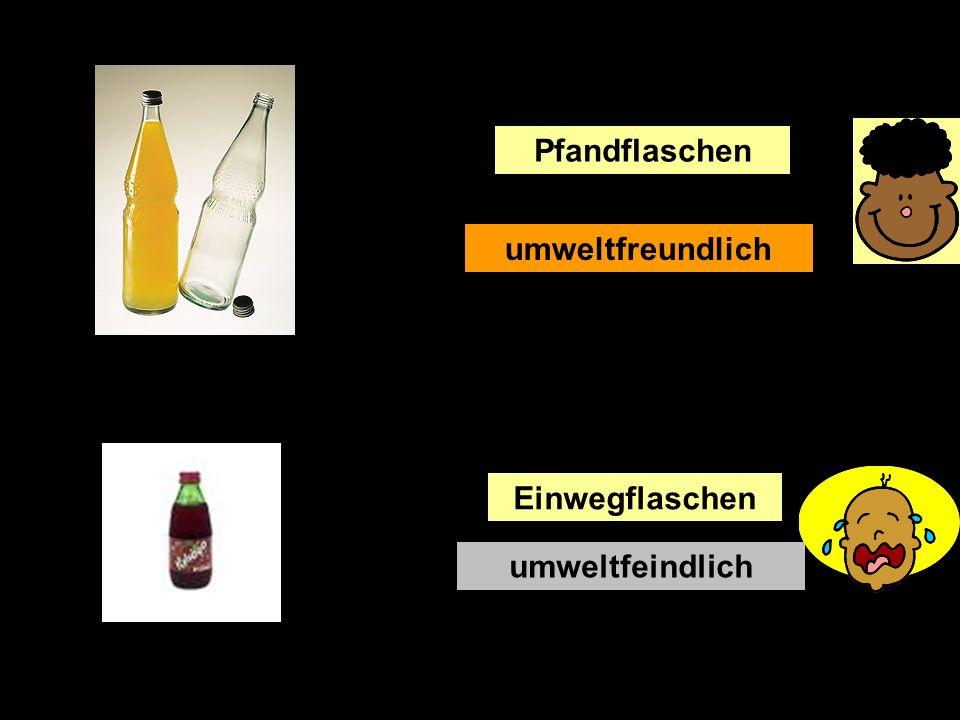 In Deutschland gibt es oft im Supermarkt Pfandflaschen. Wenn die Flasche, zum Beispiel Limonade, leer (empty) ist, kann man mit der Flasche zum Superm