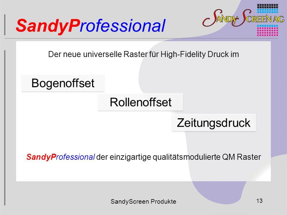 SandyScreen Produkte 13 SandyProfessional Bogenoffset Rollenoffset Zeitungsdruck Der neue universelle Raster für High-Fidelity Druck im SandyProfessio