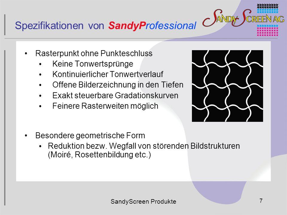 SandyScreen Produkte 7 Spezifikationen von SandyProfessional Rasterpunkt ohne Punkteschluss Keine Tonwertsprünge Kontinuierlicher Tonwertverlauf Offen