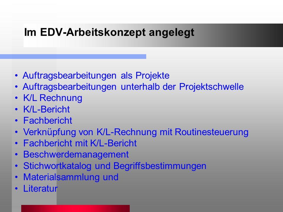Auftragsbearbeitungen als Projekte Auftragsbearbeitungen unterhalb der Projektschwelle K/L Rechnung K/L-Bericht Fachbericht Verknüpfung von K/L-Rechnu