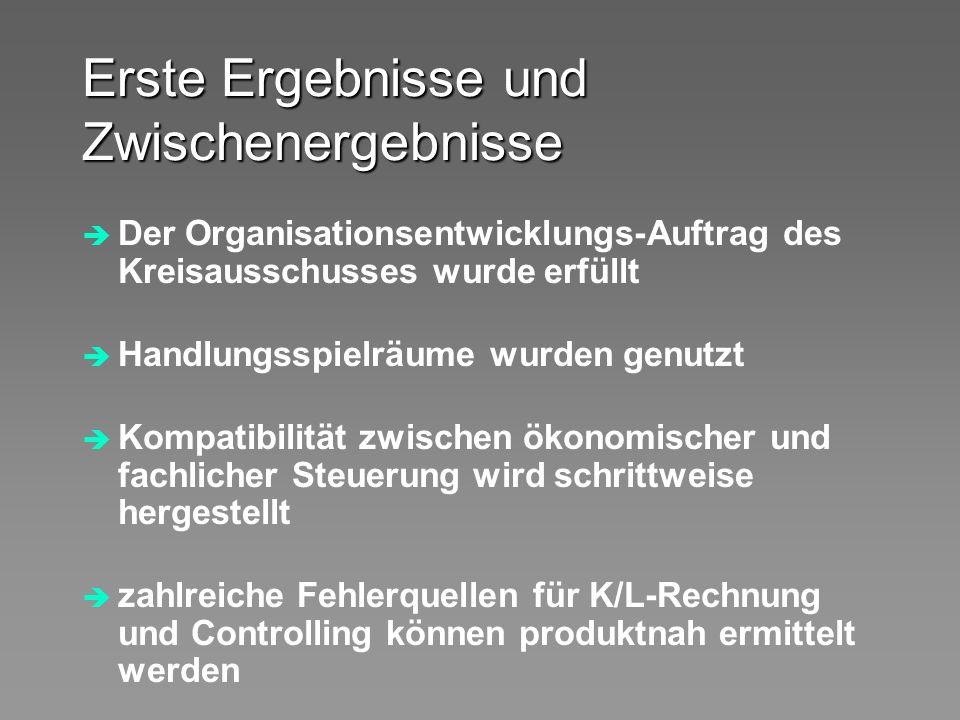 Erste Ergebnisse und Zwischenergebnisse Der Organisationsentwicklungs-Auftrag des Kreisausschusses wurde erfüllt Handlungsspielräume wurden genutzt Ko
