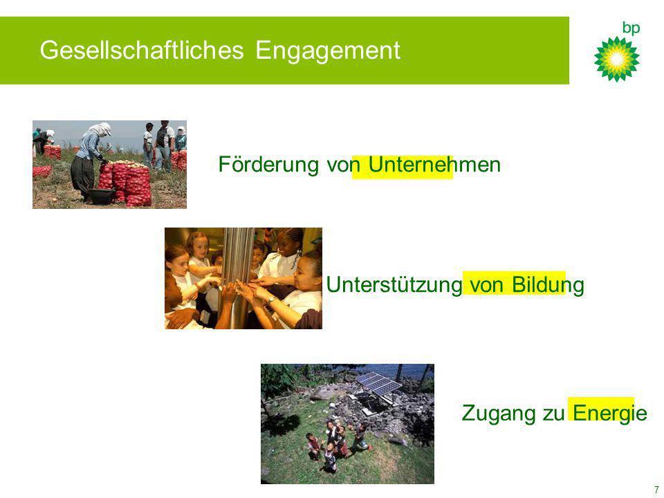 7 Unterstützung von Bildung Förderung von Unternehmen Zugang zu Energie Gesellschaftliches Engagement