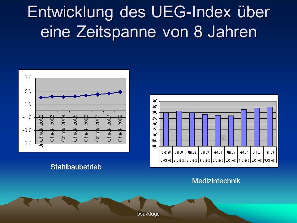 bsu-kluge Entwicklung des UEG-Index über eine Zeitspanne von 8 Jahren Stahlbaubetrieb Medizintechnik -