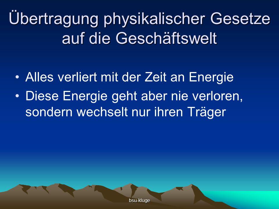 bsu-kluge Übertragung physikalischer Gesetze auf die Geschäftswelt Alles verliert mit der Zeit an Energie Diese Energie geht aber nie verloren, sondern wechselt nur ihren Träger