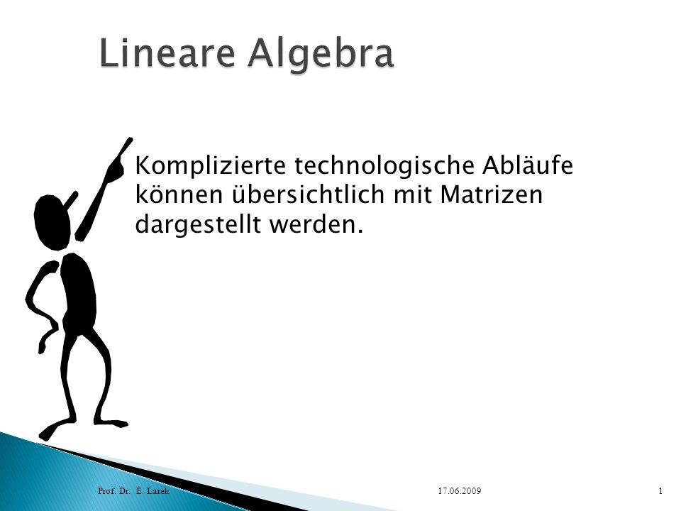 Prof. Dr. E. Larek17.06.20091 Komplizierte technologische Abläufe können übersichtlich mit Matrizen dargestellt werden.