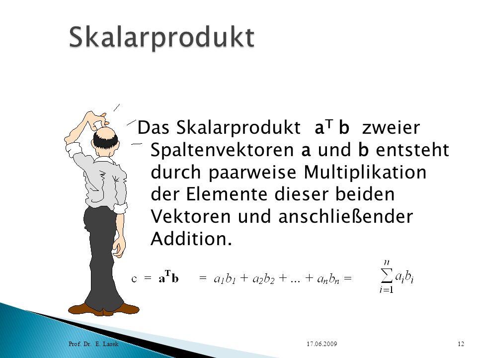 Das Skalarprodukt a T b zweier Spaltenvektoren a und b entsteht durch paarweise Multiplikation der Elemente dieser beiden Vektoren und anschließender