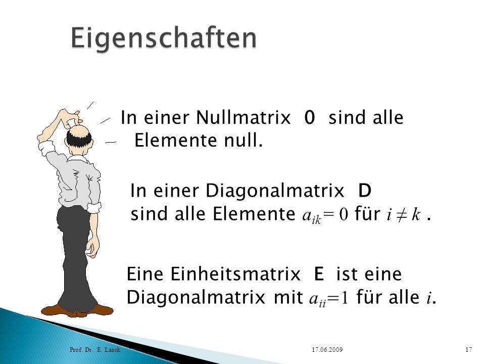 In einer Nullmatrix 0 sind alle Elemente null. Prof. Dr. E. Larek17.06.200917 Eine Einheitsmatrix E ist eine Diagonalmatrix mit a ii = 1 für alle i. I