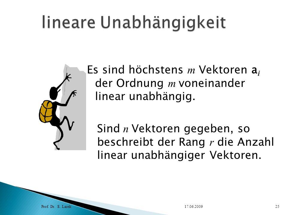 Es sind höchstens m Vektoren a i der Ordnung m voneinander linear unabhängig. Prof. Dr. E. Larek17.06.200925 Sind n Vektoren gegeben, so beschreibt de