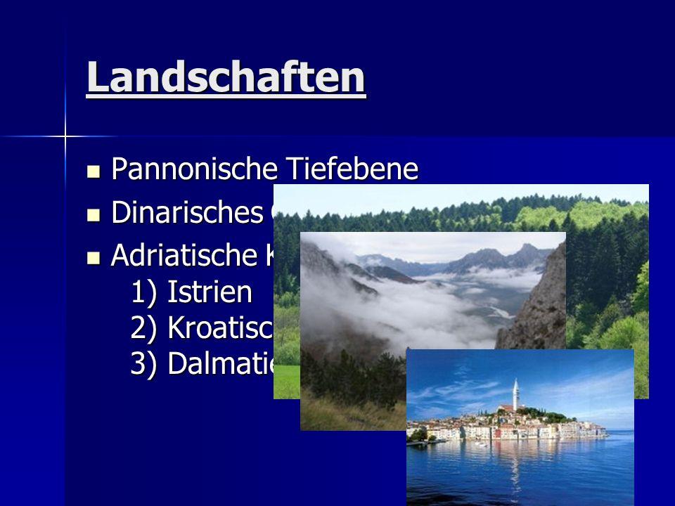 Landschaften Pannonische Tiefebene Pannonische Tiefebene Dinarisches Gebirge Dinarisches Gebirge Adriatische Küstenregion: 1) Istrien 2) Kroatisches K