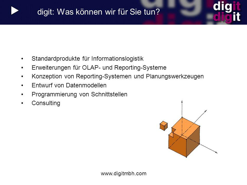 www.digitmbh.com digit: Was können wir für Sie tun? Standardprodukte für Informationslogistik Erweiterungen für OLAP- und Reporting-Systeme Konzeption