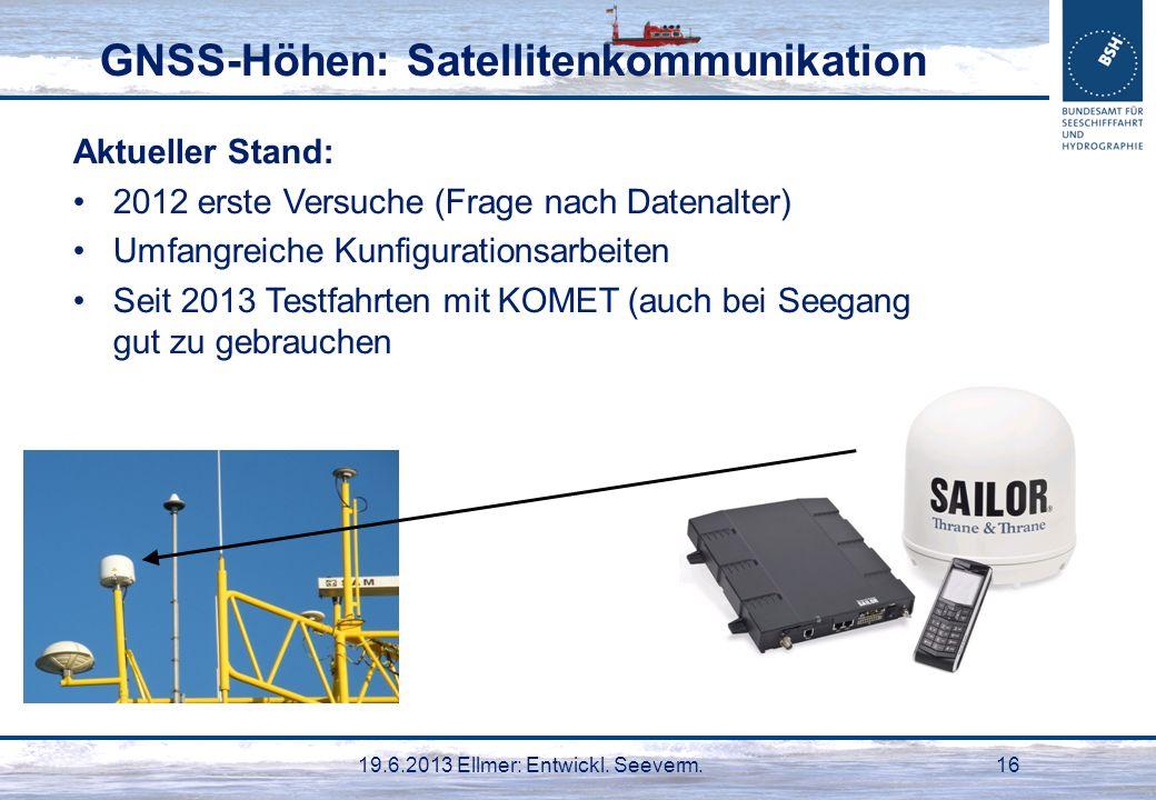 19.6.2013 Ellmer: Entwickl. Seeverm.16 GNSS-Höhen: Satellitenkommunikation Aktueller Stand: 2012 erste Versuche (Frage nach Datenalter) Umfangreiche K