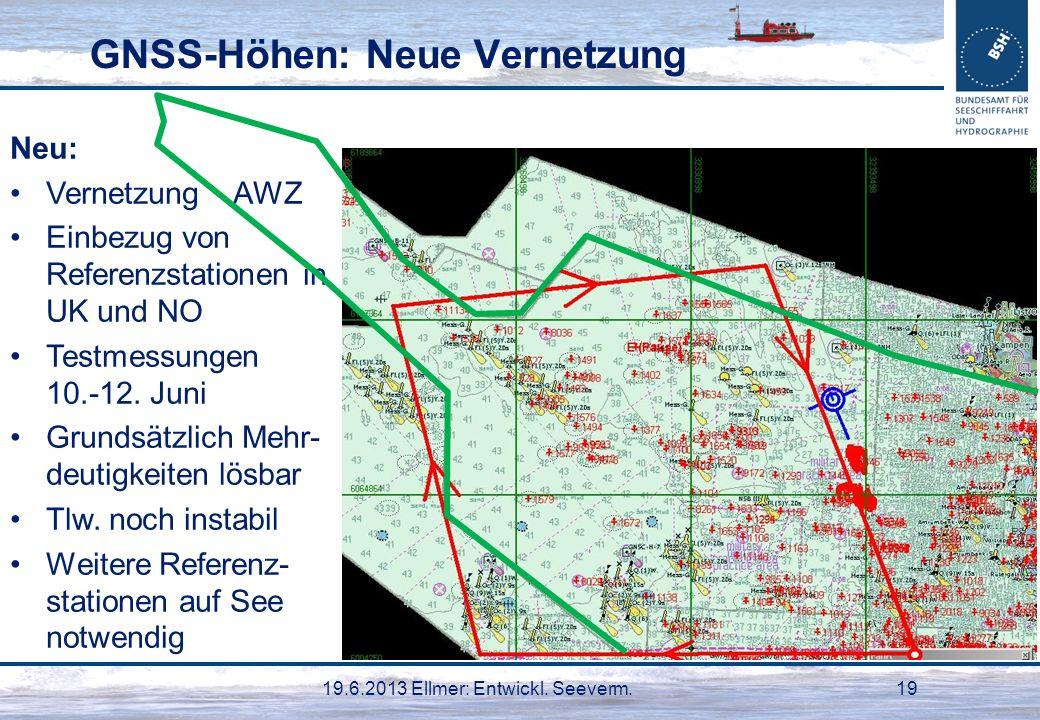 19.6.2013 Ellmer: Entwickl. Seeverm.19 GNSS-Höhen: Neue Vernetzung Neu: Vernetzung AWZ Einbezug von Referenzstationen in UK und NO Testmessungen 10.-1