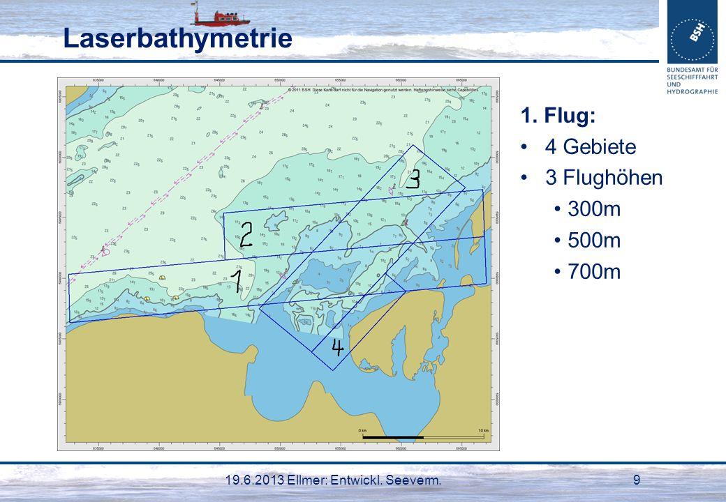 19.6.2013 Ellmer: Entwickl. Seeverm.9 Laserbathymetrie 1. Flug: 4 Gebiete 3 Flughöhen 300m 500m 700m