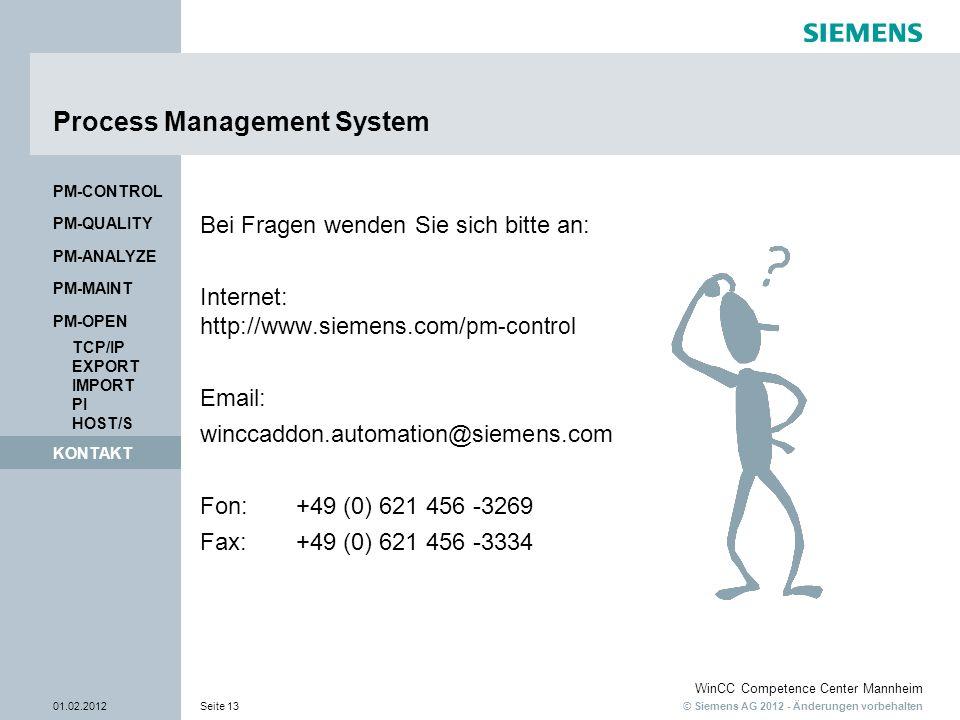© Siemens AG 2012 - Änderungen vorbehalten WinCC Competence Center Mannheim 01.02.2012Seite 13 KONTAKT PM-QUALITY PM-CONTROL Process Management System