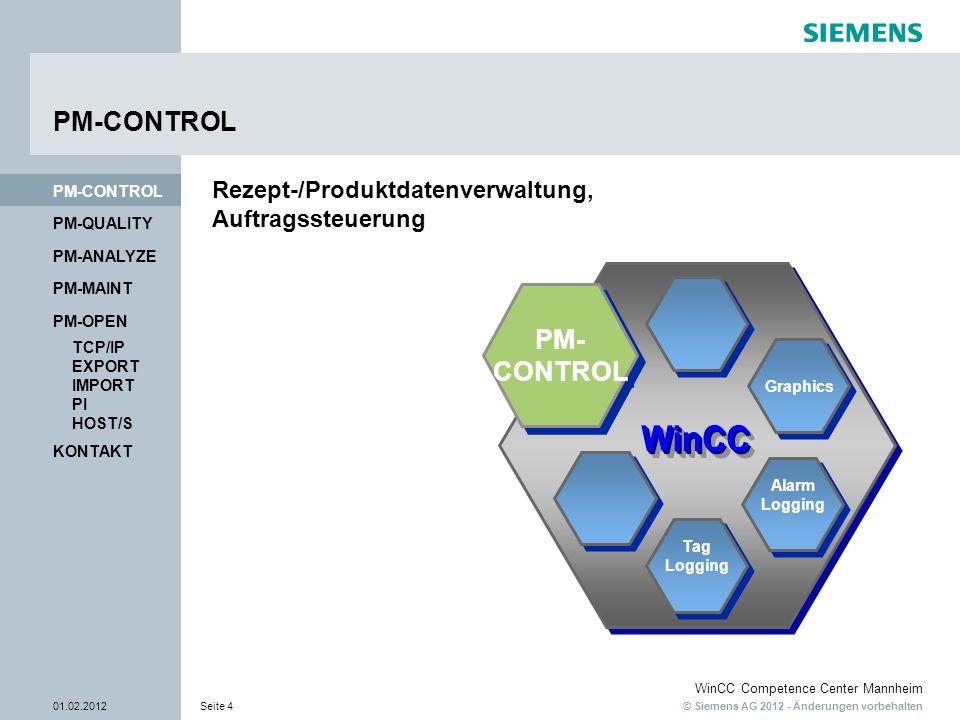© Siemens AG 2012 - Änderungen vorbehalten WinCC Competence Center Mannheim 01.02.2012Seite 4 PM-QUALITY PM-CONTROL PM-OPEN PM-MAINT PM-ANALYZE TCP/IP