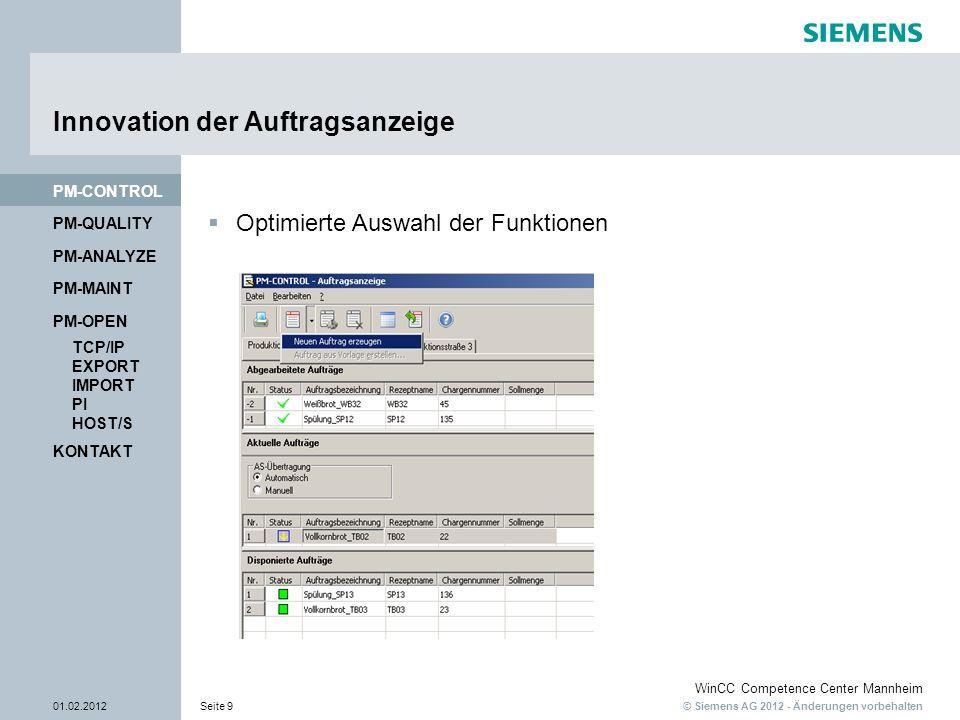 © Siemens AG 2012 - Änderungen vorbehalten WinCC Competence Center Mannheim 01.02.2012Seite 9 PM-QUALITY PM-CONTROL Innovation der Auftragsanzeige KON