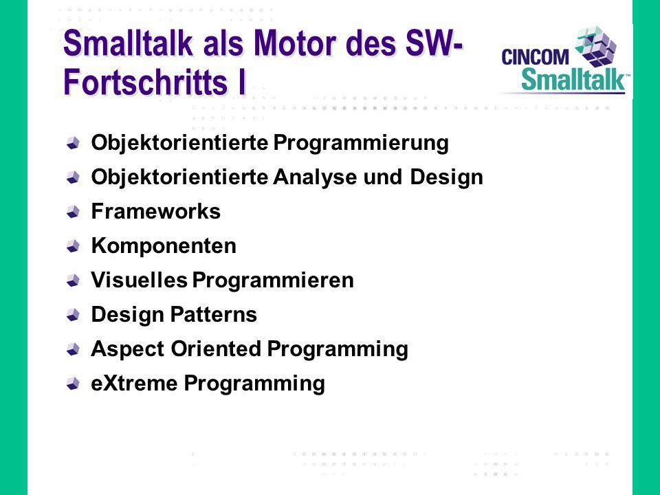 Smalltalk als Motor des SW- Fortschritts I Objektorientierte Programmierung Objektorientierte Analyse und Design Frameworks Komponenten Visuelles Programmieren Design Patterns Aspect Oriented Programming eXtreme Programming