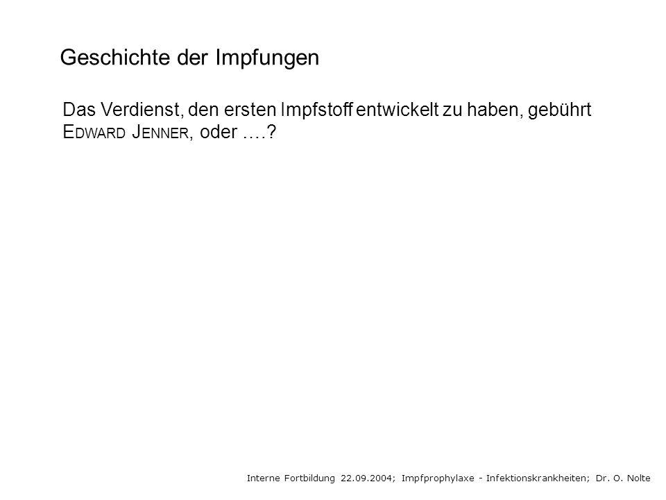 Geschichte der Impfungen Interne Fortbildung 22.09.2004; Impfprophylaxe - Infektionskrankheiten; Dr. O. Nolte Das Verdienst, den ersten Impfstoff entw