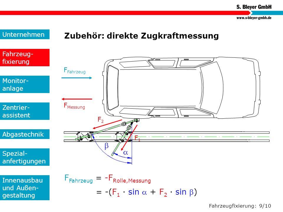 Fahrzeugfixierung: 9/10 Zubehör: direkte Zugkraftmessung F Fahrzeug F Messung F Fahrzeug = -F Rolle,Messung = -(F 1 · sin + F 2 · sin ) F2F2 F1F1 Unte