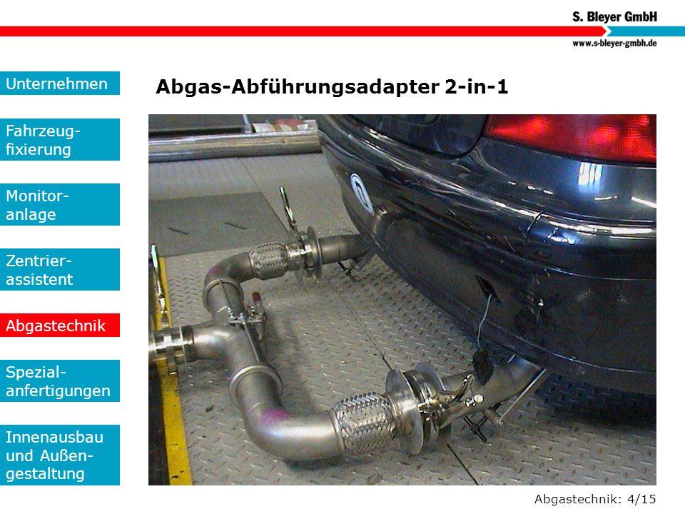 Abgastechnik: 4/15 Abgas-Abführungsadapter 2-in-1 Unternehmen Fahrzeug- fixierung Monitor- anlage Zentrier- assistent Abgastechnik Spezial- anfertigun