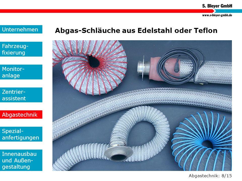 Abgastechnik: 8/15 Abgas-Schläuche aus Edelstahl oder Teflon Unternehmen Fahrzeug- fixierung Monitor- anlage Zentrier- assistent Abgastechnik Spezial-