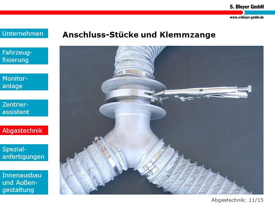 Abgastechnik: 11/15 Anschluss-Stücke und Klemmzange Unternehmen Fahrzeug- fixierung Monitor- anlage Zentrier- assistent Abgastechnik Spezial- anfertig