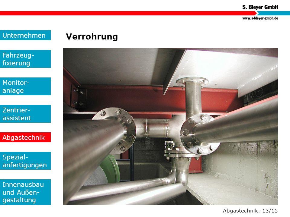 Abgastechnik: 13/15 Verrohrung Unternehmen Fahrzeug- fixierung Monitor- anlage Zentrier- assistent Abgastechnik Spezial- anfertigungen Innenausbau und