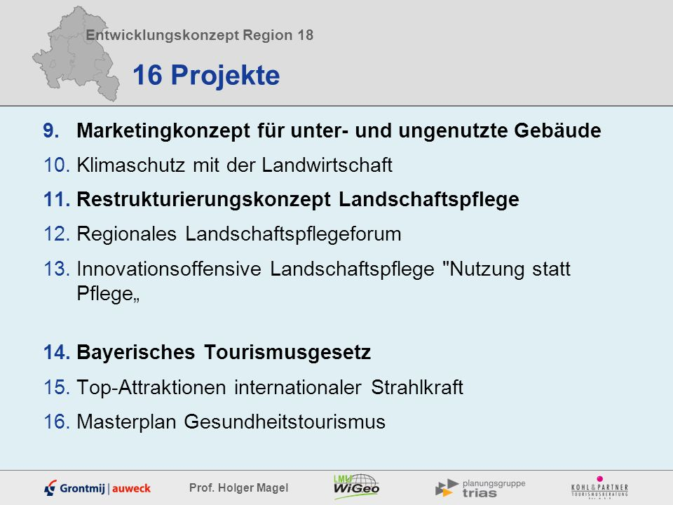 Entwicklungskonzept Region 18 Prof. Holger Magel 16 Projekte 9.Marketingkonzept für unter- und ungenutzte Gebäude 10.Klimaschutz mit der Landwirtschaf