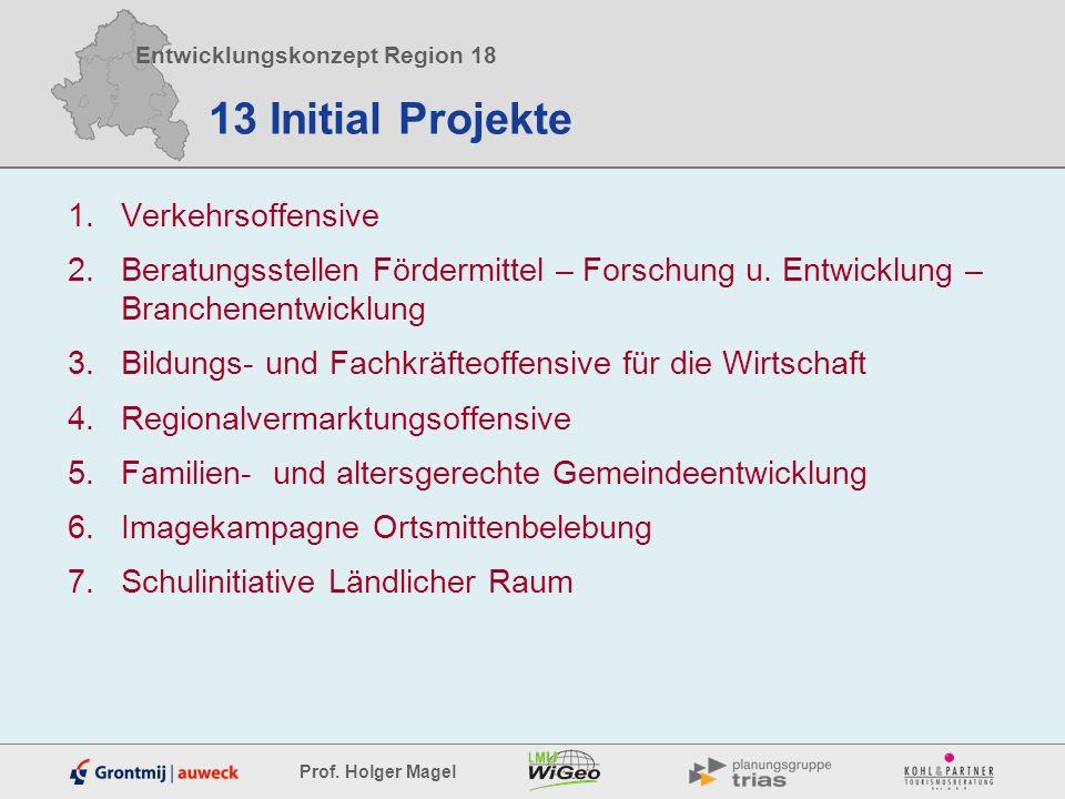 Entwicklungskonzept Region 18 Prof. Holger Magel 13 Initial Projekte 1.Verkehrsoffensive 2.Beratungsstellen Fördermittel – Forschung u. Entwicklung –