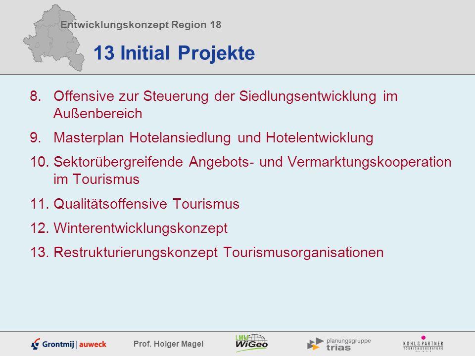 Entwicklungskonzept Region 18 Prof. Holger Magel 13 Initial Projekte 8.Offensive zur Steuerung der Siedlungsentwicklung im Außenbereich 9.Masterplan H