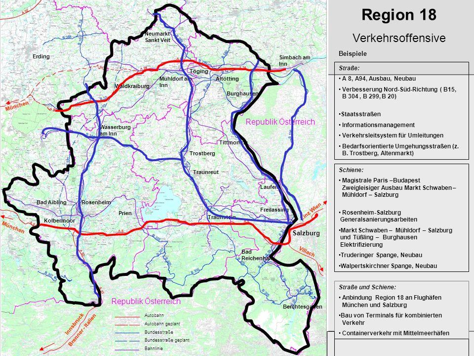 Entwicklungskonzept Region 18 Prof. Holger Magel Region 18 Verkehrsoffensive Straße: A 8, A94, Ausbau, Neubau Verbesserung Nord-Süd-Richtung ( B15, B