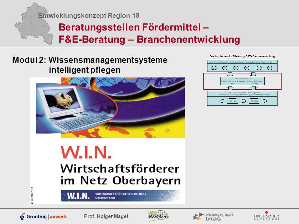 Entwicklungskonzept Region 18 Prof. Holger Magel Beratungsstellen Fördermittel – F&E-Beratung – Branchenentwicklung Modul 2: Wissensmanagementsysteme