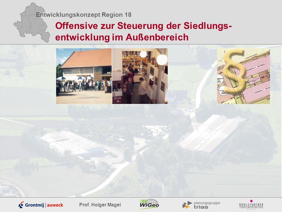 Entwicklungskonzept Region 18 Prof. Holger Magel Offensive zur Steuerung der Siedlungs- entwicklung im Außenbereich