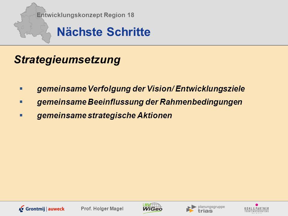 Entwicklungskonzept Region 18 Prof. Holger Magel Nächste Schritte Strategieumsetzung gemeinsame Verfolgung der Vision/ Entwicklungsziele gemeinsame Be