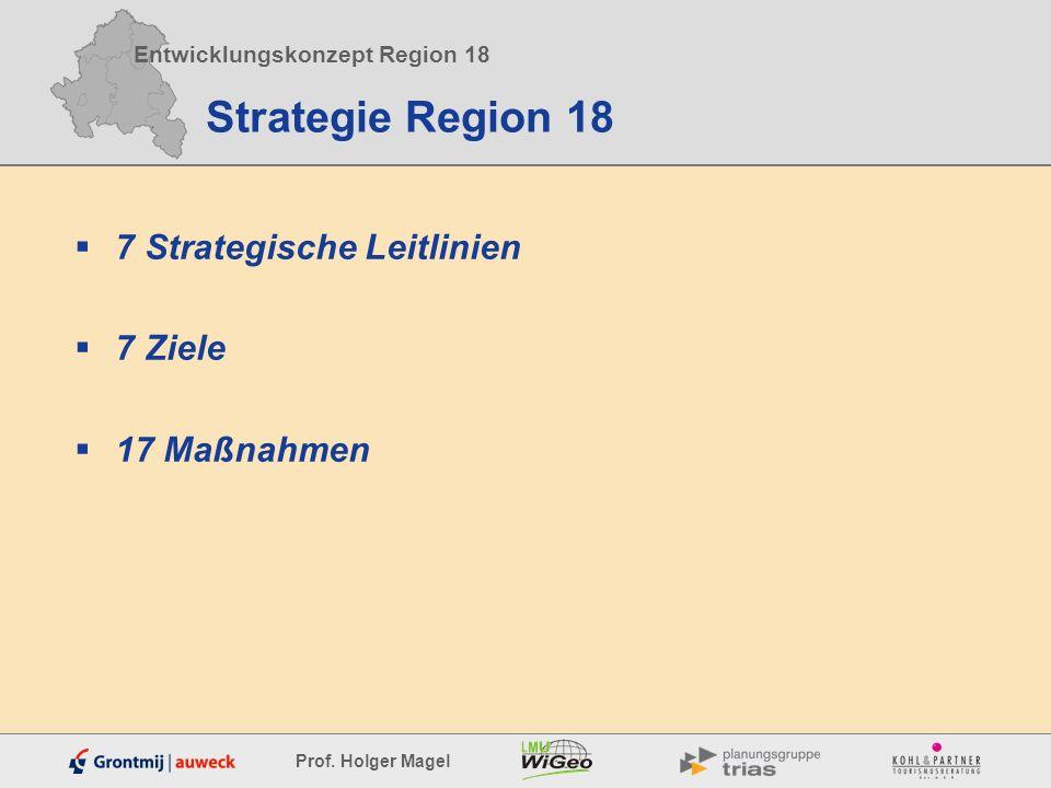 Entwicklungskonzept Region 18 Prof. Holger Magel Strategie Region 18 7 Strategische Leitlinien 7 Ziele 17 Maßnahmen