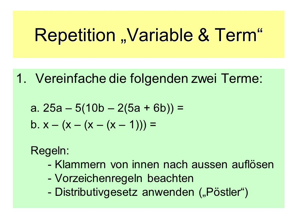 Repetition Variable & Term 1.Musterlösungen: a.
