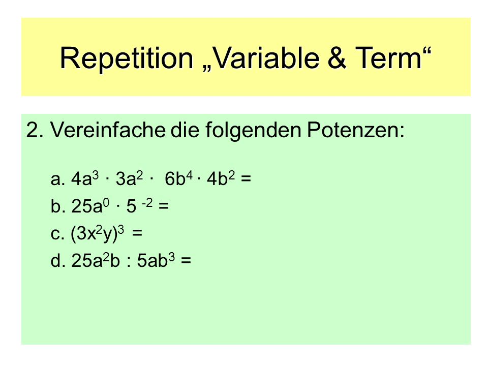 Repetition Variable & Term 2.