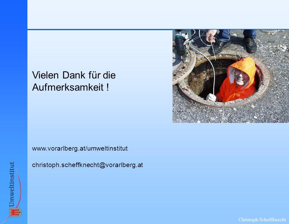 Christoph Scheffknecht Vielen Dank für die Aufmerksamkeit ! www.vorarlberg.at/umweltinstitut christoph.scheffknecht@vorarlberg.at
