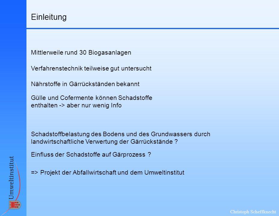Christoph Scheffknecht Auswahl der Parameter Wichtigste Düngeparameter sind bekannt Kriterien für Schadstoffauswahl: Toxizität für Mensch und Umwelt .