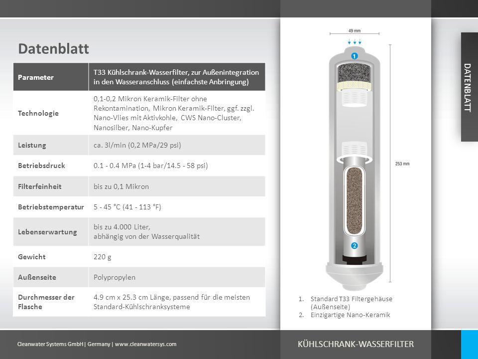 Cleanwater Systems GmbH| Germany | www.cleanwatersys.com Datenblatt 1.Standard T33 Filtergehäuse (Außenseite) 2.Einzigartige Nano-Keramik Parameter T3