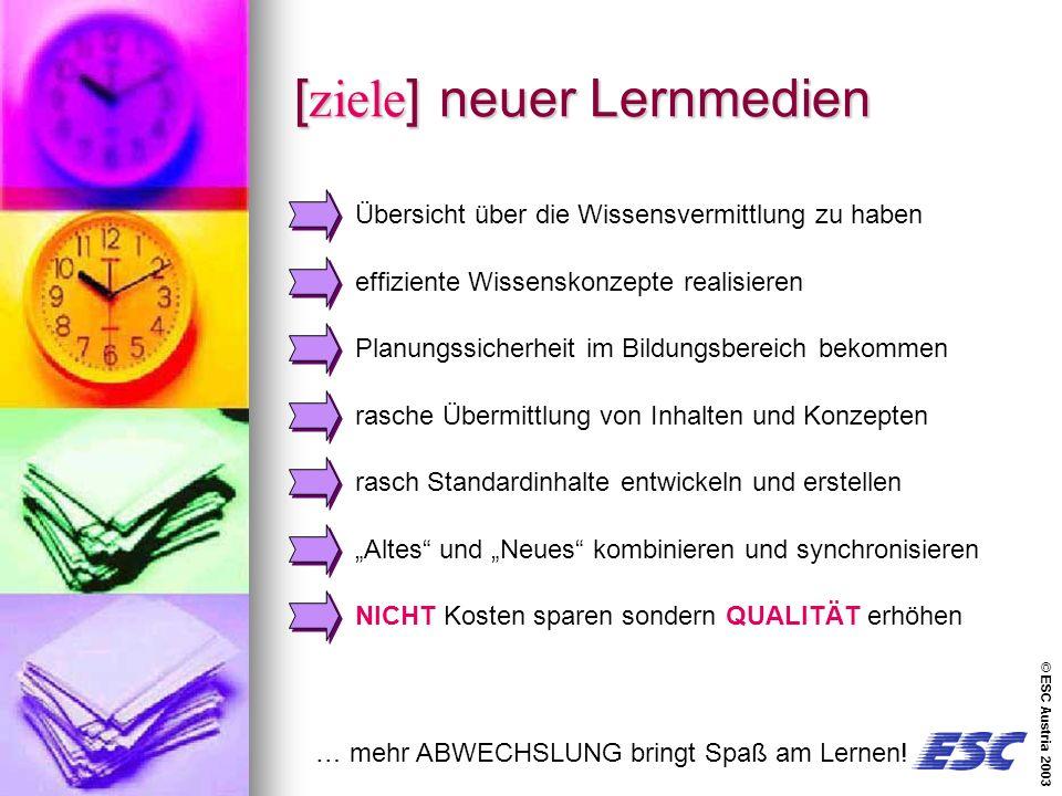 © ESC Austria 2003 [ziele] neuer Lernmedien … mehr ABWECHSLUNG bringt Spaß am Lernen.