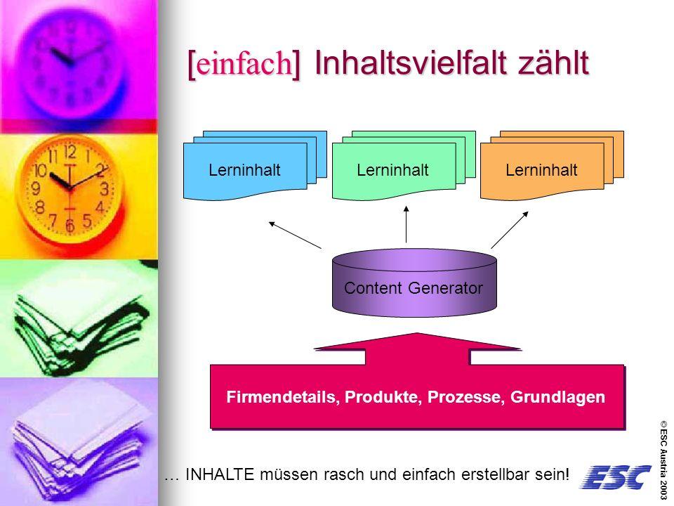 © ESC Austria 2003 [einfach] Inhaltsvielfalt zählt Firmendetails, Produkte, Prozesse, Grundlagen Content Generator Lerninhalt … INHALTE müssen rasch und einfach erstellbar sein!