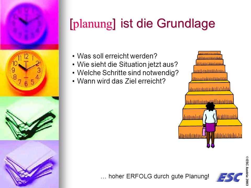 © ESC Austria 2003 [planung] ist die Grundlage … hoher ERFOLG durch gute Planung.