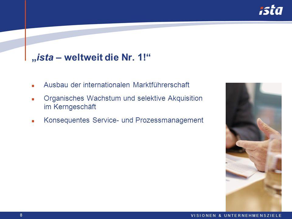 8 ista – weltweit die Nr. 1! n Ausbau der internationalen Marktführerschaft n Organisches Wachstum und selektive Akquisition im Kerngeschäft n Konsequ