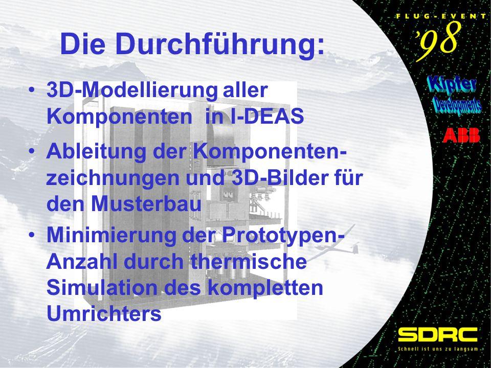 Die Durchführung: Ableitung der Komponenten- zeichnungen und 3D-Bilder für den Musterbau Minimierung der Prototypen- Anzahl durch thermische Simulation des kompletten Umrichters 3D-Modellierung aller Komponenten in I-DEAS
