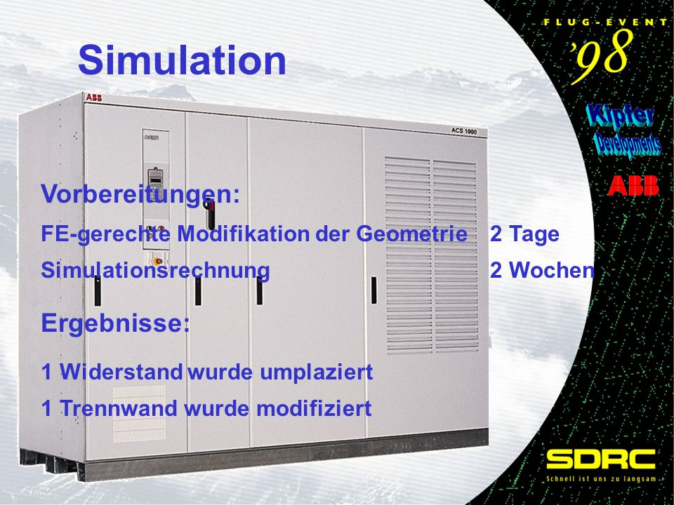 Simulation Vorbereitungen: FE-gerechte Modifikation der Geometrie2 Tage Simulationsrechnung2 Wochen Ergebnisse: 1 Widerstand wurde umplaziert 1 Trennwand wurde modifiziert